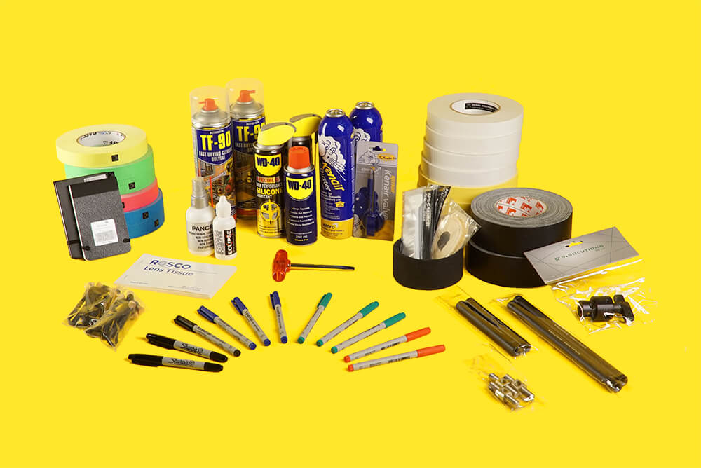 consumables at Feral Equipment gaffer tape WD40 tbar lighting camera rental London